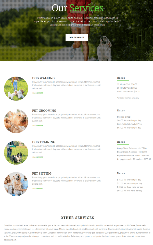 Services Page - Happy Pets