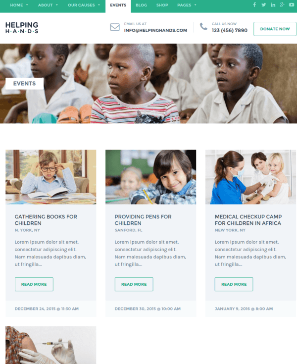 Services page of Helping Hands