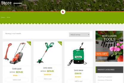 Shop Page of Garden Master