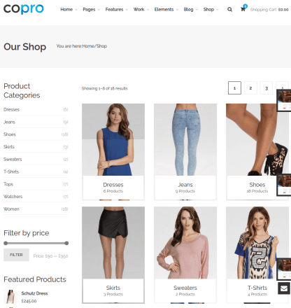 Shop page of CoPro