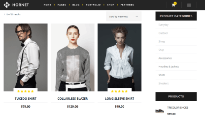 Shop page of Hornet