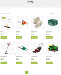 Shop page of Landscaper theme