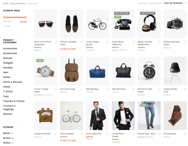 Shop page of Shopkeeper theme with sidebar