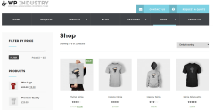 Shop page of WP industry