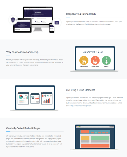 Some of Features of MyLawyer theme