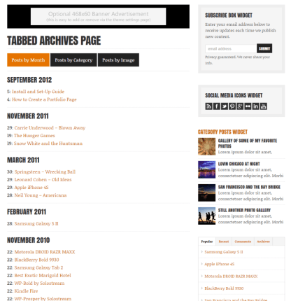 Tabbed Archive page of WP-Critique theme