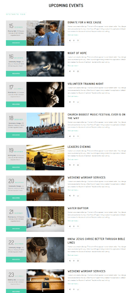 Upcoming Events of Church Suite theme