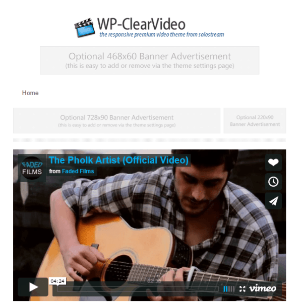 WP Clearvideo theme used for blogging and small business.