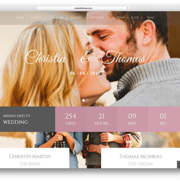 Wedding Couple –  Responsive WordPress theme for Wedding Business