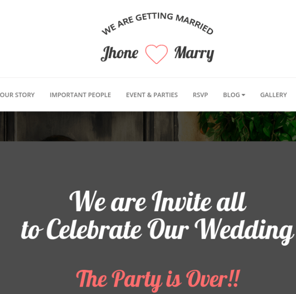 Wedding Day homepage
