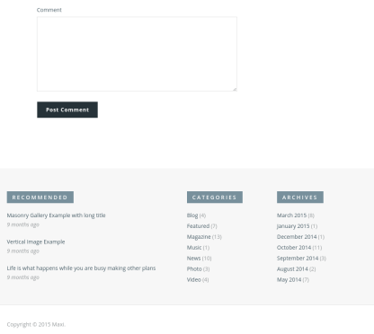 footer of maxitheme