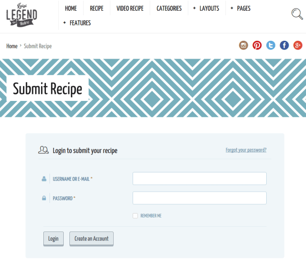receipe submision page of neptune