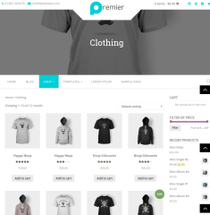 Clothing Shop page of Premier