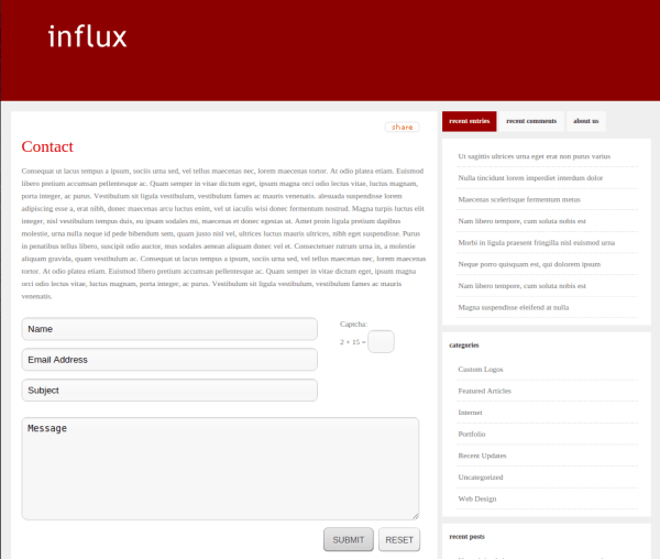Contact Page of Influx