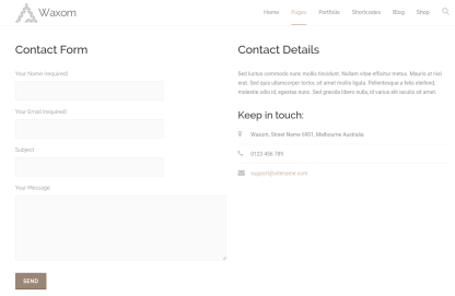 Contact Page of Waxom