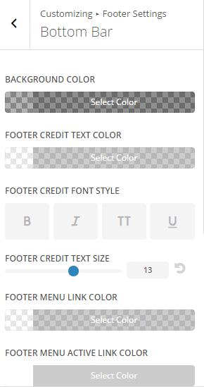 Extra - Customize Footer settings - Bottom bar