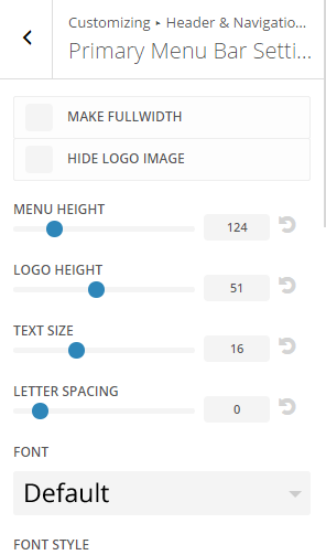 Extra - Customize Header and Navigation settings - Primary menu settings 1