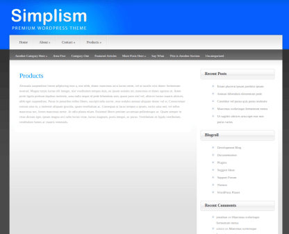 Products Page of Simplism