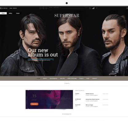 Superstar - WordPress Theme for Musicians.