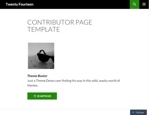 Twenty Fourteen - Contributors page template on Tablet portrait view