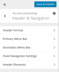 Theme Customizer - Header & Navigation