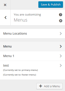 Theme Customizer - Menus