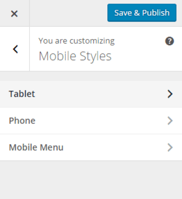 Theme Customizer - Mobile Styles