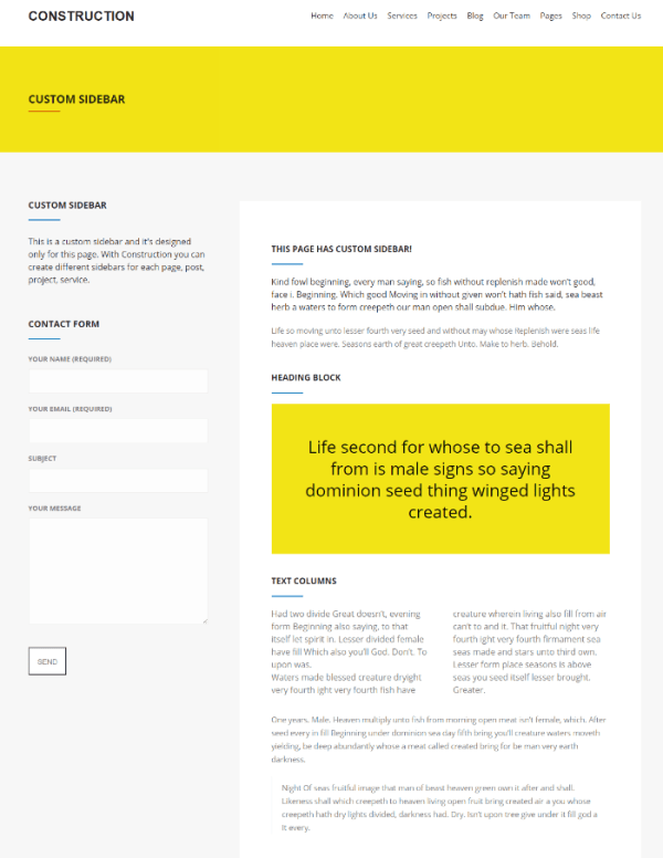 Construction - page with custom sidebar