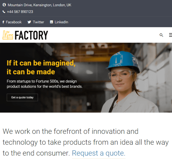 Factory – Responsive Industrial Business WP theme