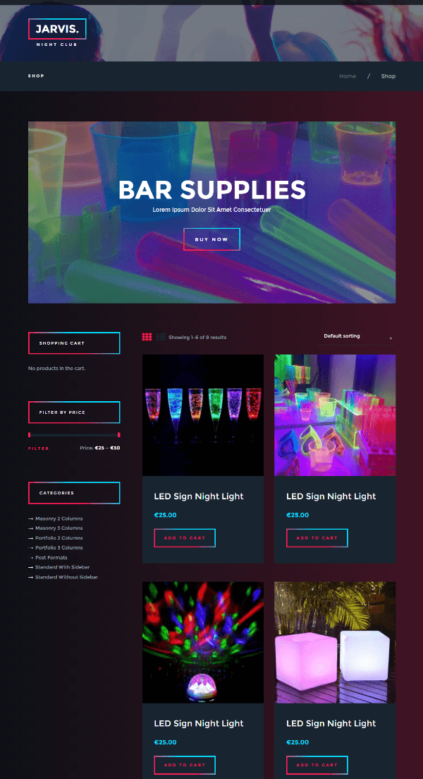 Jarvis - shop page