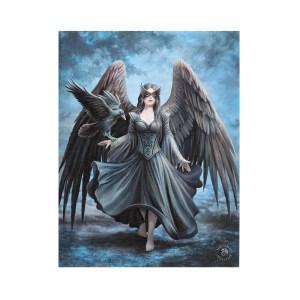 19x25cm Raven Canvas Plaque by Anne Stokes