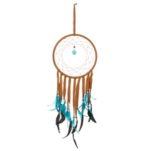Dreamcatcher Med Brown Suede Turq Feathers