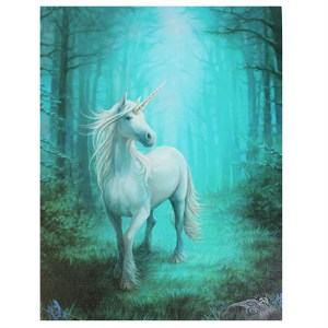 19x25cm Forest Unicorn Canvas Plaque by Anne Stokes