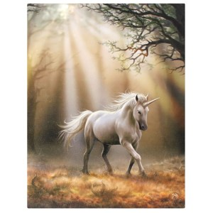 19x25cm Glimpse Of A Unicorn Canvas Plaque By Anne Stokes