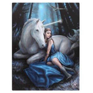 19x25cm Blue Moon Canvas Plaque by Anne Stokes