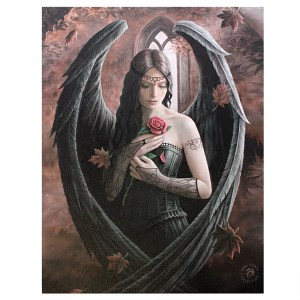 19x25cm Angel Rose Canvas Plaque by Anne Stokes