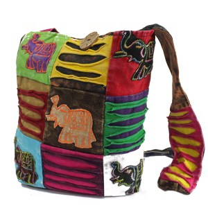 Ethnic Sling Bag - Chocolate / Elephant
