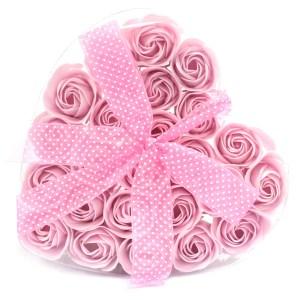 Set of 24 Soap Flower Heart Box - Pink Roses
