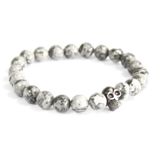 Pewter Skull / Grey Agate - Gemstone Bracelet