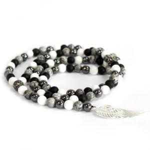 Angel Wing / Grey Agate - Gemstone Necklace