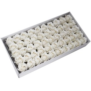 Craft Soap Flowers - Med Rose - White
