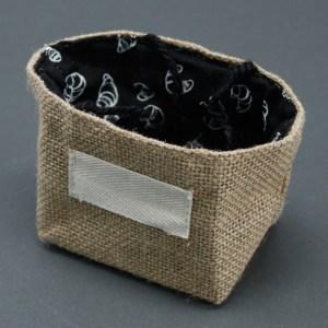 Natural Jute Cotton Gift Bag - Black Lining - Small