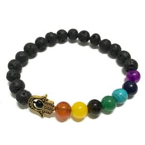 Lava Stone Bracelet - Hamsa Chakra