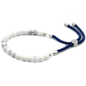 925 Silver Plated Gemstone Navy String Bracelet - White Howlite