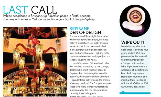 Wine Wipes Australia in Voyeur Magazine
