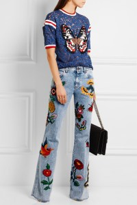 Gucci Appliquéd mid-rise flared jeans