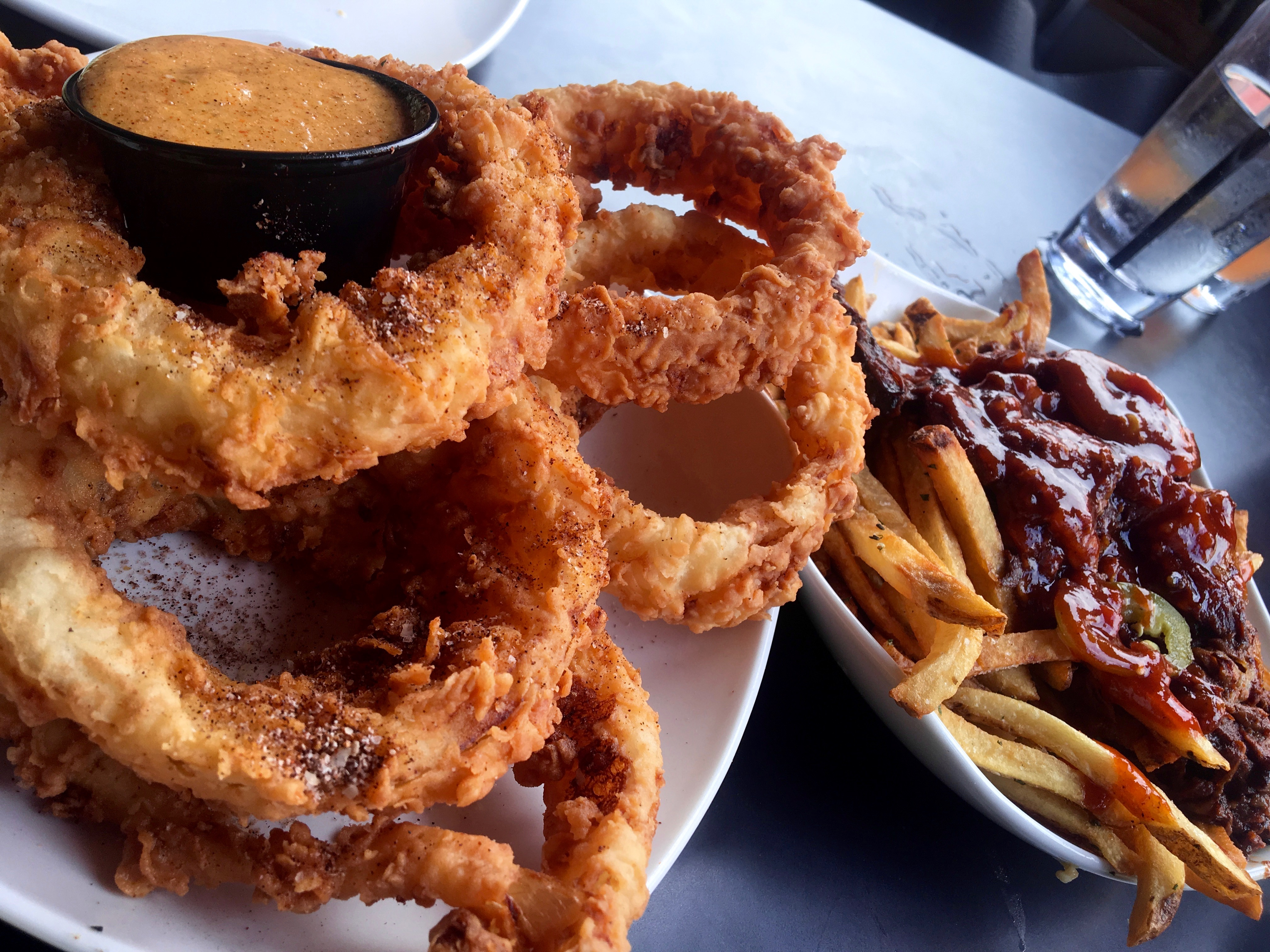 Onion rings and brisket fries