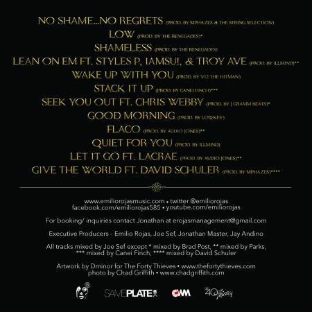 Emilio Rojas No Shame No Regrets Tracklist