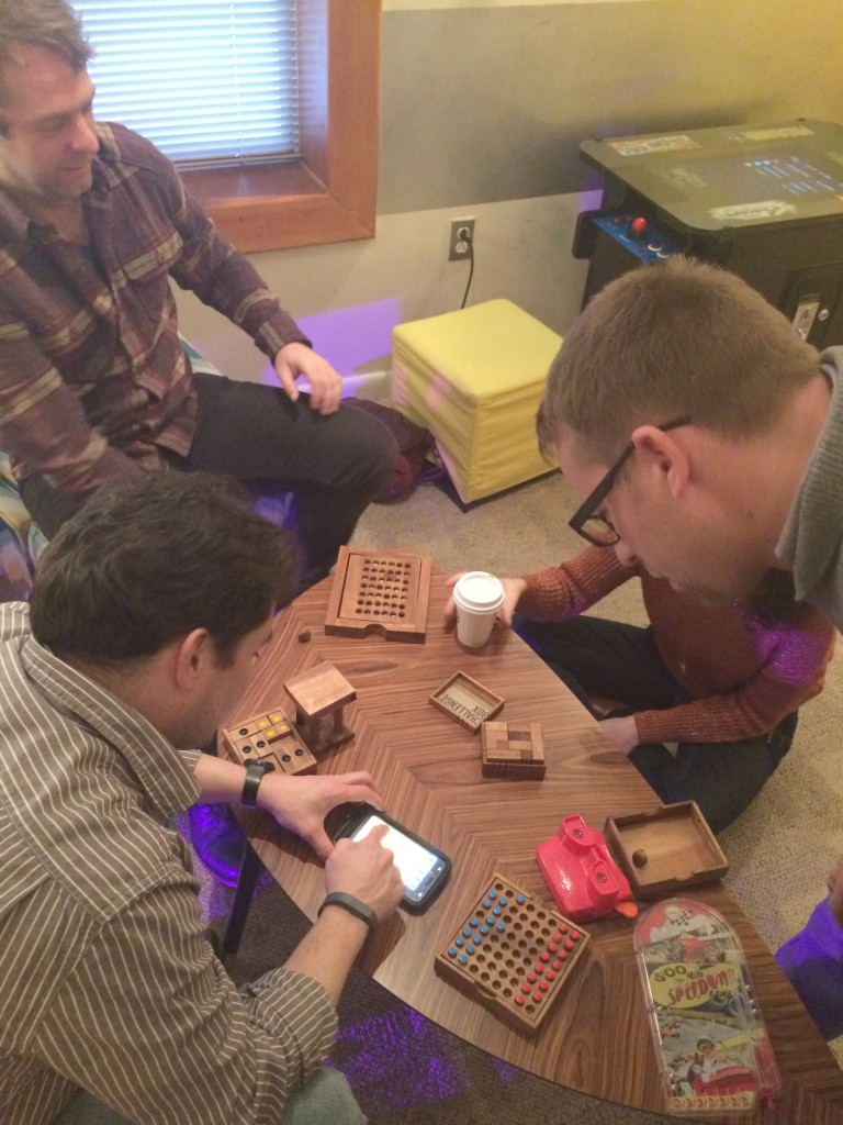 Brainteasers in the waiting room of Escape Room DC
