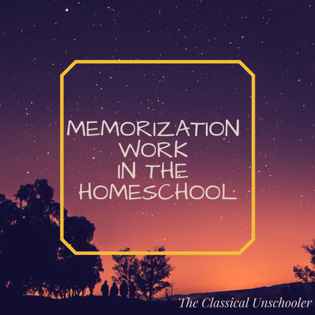 Memorization work in the homeschool